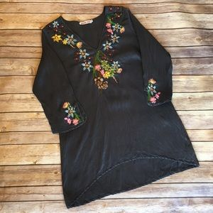 JOHNNY WAS silk floral embroidered tunic (S)